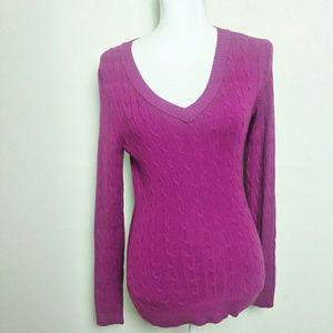 LOFT Pink V Neck Cable Knit Sweater Medium